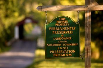 Land Preservation Sign Near Covered Bridge in Solebury Township